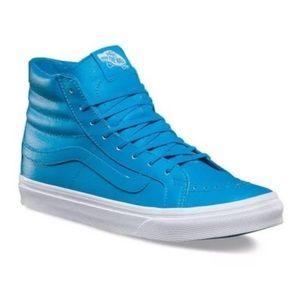 Vans sk8 slim leather neon blue, size 7, 9.5